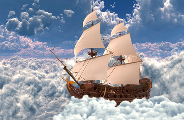 Sailboat flying above the clouds 3d illustration