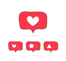 Hand drawn speech bubble new notification Icon. Social media like, comment, follower. Modern flat vector illustration