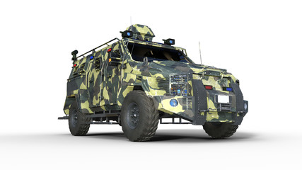 Armored SUV truck, bulletproof army vehicle, camo military car isolated on white background, bottom view, 3D rendering
