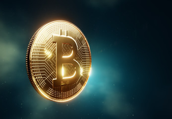 Bitcoin coin visualization, side view in a cloudy space, 3D illustration