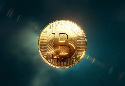 Golden Bitcoin coin, front view in space, clean background, 3D illustration