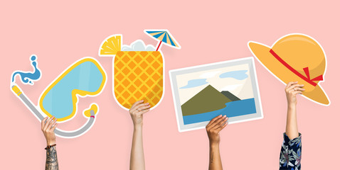Hands holding beach icons clipart