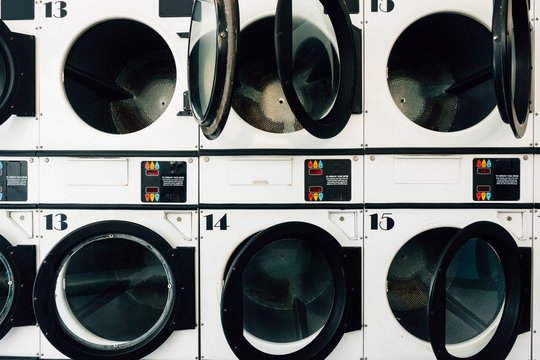 Washing machines in a laundromat