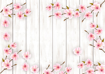 Wall Mural - Sakura japan cherry branch with a pink flowers on wooden background. Vector