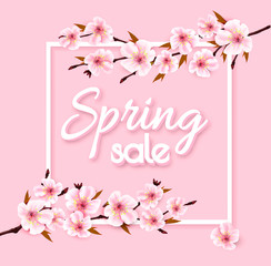 Wall Mural - Spring sale background with pink blooming sakura. Vector