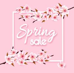 Fototapete - Spring sale background with pink blooming sakura. Vector