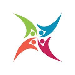 Swoosh People Icon.. Teamwork Logo. Community Symbol. Eps 08.
