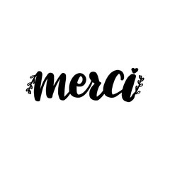 Merci lettering greeting card. Thank