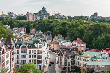 Views of modern and ancient buildings from the Castle hill or Zamkova Hora in Kiev, Ukraine. Castle hill is a historical landmark in the center of the city.