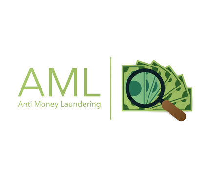 Anti money laundering AML cash coin credit transaction company. Vector illustration.