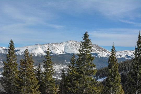 View of the mountains surrounding Breckenridge ski resort in Colorado.