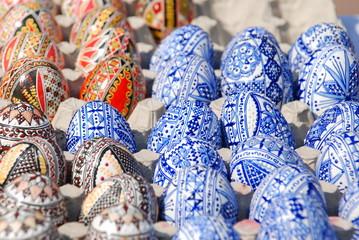 romanian painted easter eggs near  Humor Monastery, ROMANIA. at the fair market,