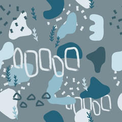 Blue abstract modern and stylish digital background with different shapes. Memphis colorful pattern. Creative forms.