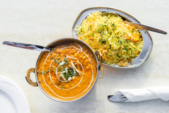 Delicious Indian food - tarka dal and egg rice