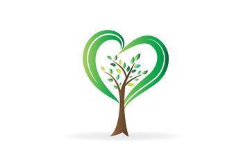 Logo tree love heart shape ecology symbol icon