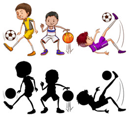 Set of at athlete character