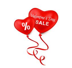 Valentine's Day Sale - Herz Luftballons mit Typographie und Prozentzeichen