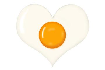 Fried Egg With Heart Shaped Egg White Isolated on White Background