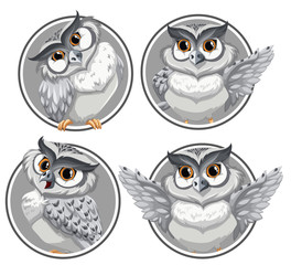 Set of owl on circle template