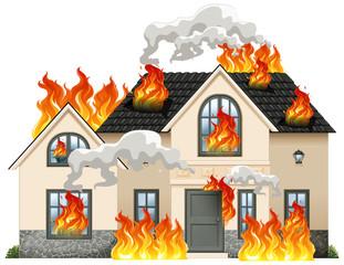 A modern house on fire