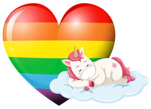 Unicorn character sleeping with rainbow heart