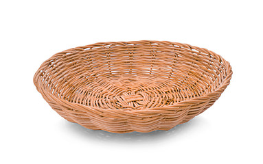Woven basket isolated on white background