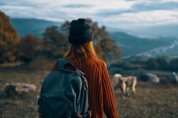 woman dog nature travel