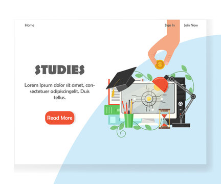 Vector education website landing page design template