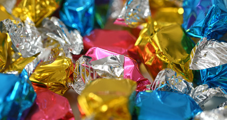 Colourful plastic wrap candy