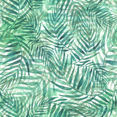 Seamless watercolor background from green tropical leaves, palm leaf, floral pattern. Bright Rapport for Paper, Textile, Wallpaper, design. Tropical leaves watercolor. Exotic tropical palm tree