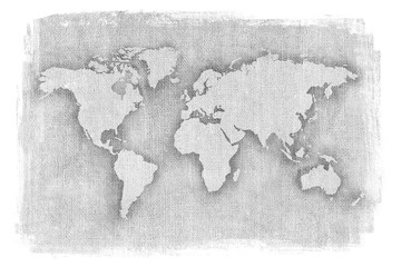 Textured illustration of map of the world with burlap linen background. Black and white illustrated map.