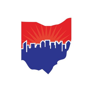 ohio map with skyline of city. vector logo.