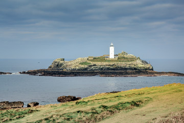 Godrevy Island and lighthouse Cornwall England UK Europe