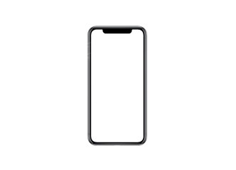 Smartphone similar to iphone xs max with blank white screen for Infographic Global Business Marketing investment Plan, mockup model similar to iPhonex isolated illustration of responsive web design.