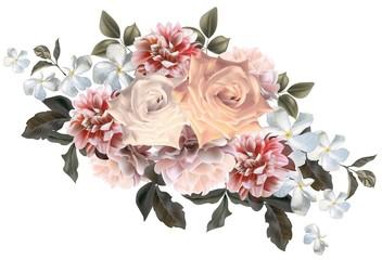 Floral beautiful bouquet romantic styles - Vector