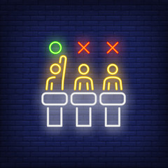 Jury neon sign. Glowing judges in chairs with red and green signs above heads on brick wall background. Vector illustration can be used for music, song contest, TV show