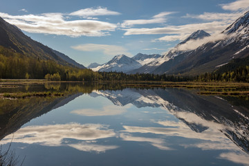 A sunny day at a peaceful lake in Alaska