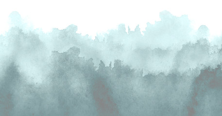 Watercolor blue background, blot, blob, splash of blue paint on white background. Abstract blue, gray smoke ink wash painting. Grunge texture. Blue abstract silhouette of the forest, fog.