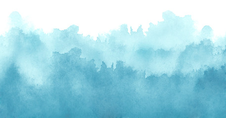 Watercolor blue background, blot, blob, splash of blue paint on white background. Abstract blue ink wash painting. Grunge texture. Blue abstract silhouette of the forest, fog.