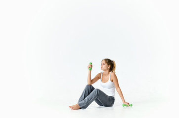 woman with dumbbell fitness