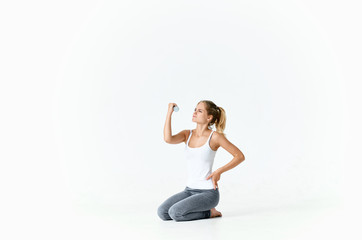 woman with sport dumbbells