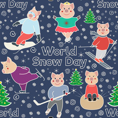 Seamless pattern with characters involved in winter sports. World Snow Day. Pigs skier, skater, snowboarder, skater .. Color illustration in doodle style. Vector.