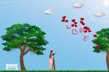 Illustration of love with couple standing in the meadow on sunshine day,paper art design for happy Valentine's day
