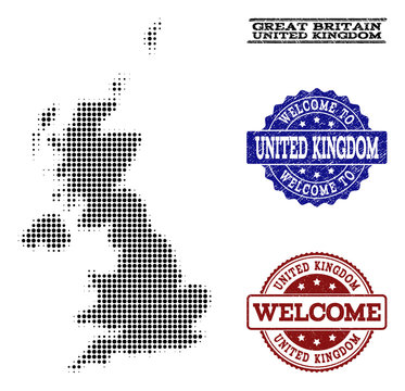 Welcome composition of halftone map of United Kingdom and rubber watermarks. Halftone map of United Kingdom designed with black round elements.