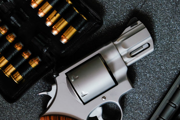 Metal revolver .44 magnum pistol gun with jacket soft point(JSP) bullet