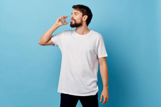 man with a beard drinking water logo
