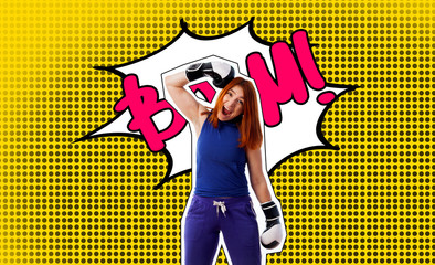 Pop art portrait of a woman in boxing gloves smiles and strikes herself on the head box on a yellow...
