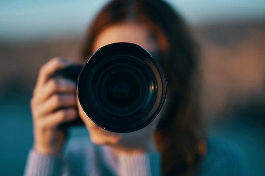 photographer with a camera closeup