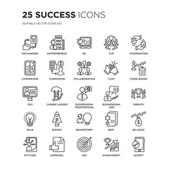 Set of 25 Success linear icons such as Exchanging, Entrepreneur, De, Cup, Cooperation, Chess board, Wreath, Balance, Approval, vector illustration of trendy icon pack. Line icons with thin line
