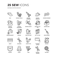 Set of 25 Sew linear icons such as silk, Sewing tools, scissors, needles, sewing Marker, box, Seam ripper, vector illustration of trendy icon pack. Line icons with thin line stroke.